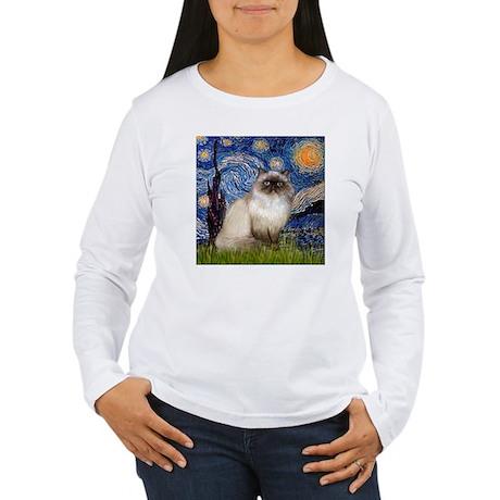 Starry Night Himalayan cat Long Sleeve T-Shirt