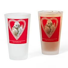 Golden Retriever Valentine Magnet,  Drinking Glass