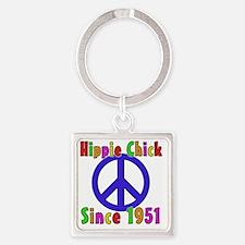 Hippie Chick1951 Square Keychain