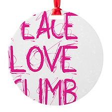 peace love climb pink white Ornament