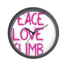 peace love climb pink white Wall Clock