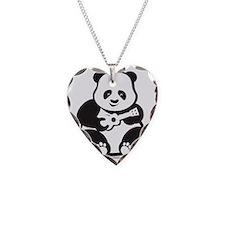 Ukulele Panda Solo Necklace Heart Charm