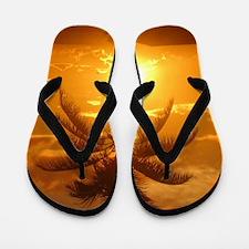 palm sunset Flip Flops