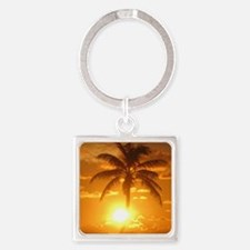 palm sunset Square Keychain