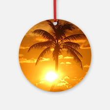 palm sunset Round Ornament