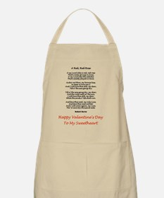 A Red, Red Rose Poetry Valentine Card Verse Apron