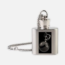 8 ball man_white 5x3oval_sticker Flask Necklace