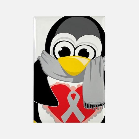 Grey-Ribbon-Penguin-Scarf Rectangle Magnet