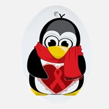 Red-Ribbon-Penguin-Scarf Oval Ornament