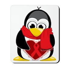 Red-Ribbon-Penguin-Scarf Mousepad