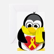 Yellow-Ribbon-Penguin-Scarf Greeting Card