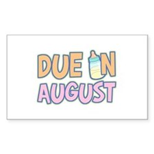 Due In August Girl Rectangle Decal