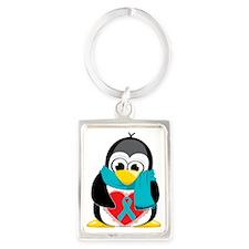 Teal-Ribbon-Penguin-Scarf Portrait Keychain