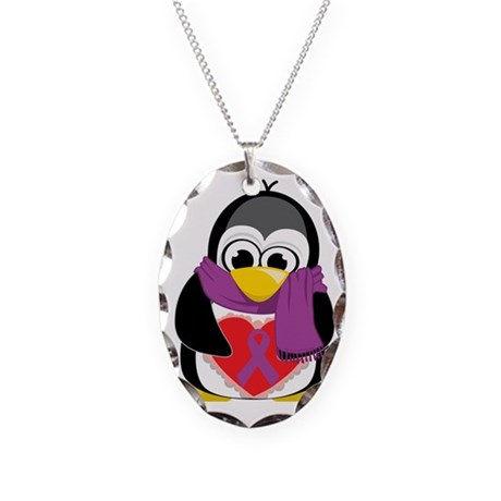 Purple-Ribbon-Penguin-Scarf Necklace Oval Charm