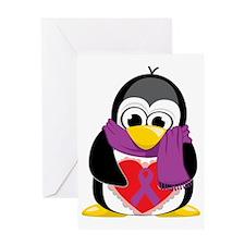 Purple-Ribbon-Penguin-Scarf Greeting Card