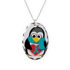 Teal-Ribbon-Penguin-Scarf Necklace Oval Charm