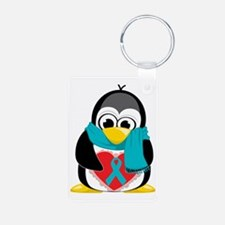 Teal-Ribbon-Penguin-Scarf Keychains