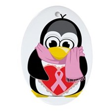 Pink-Ribbon-Penguin-Scarf Oval Ornament
