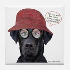 Black Lab Optometrist Tile Coaster