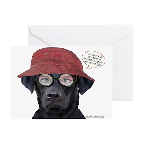 Black Lab Optometrist Greeting Cards (Pk of 10