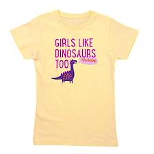 Girls Like Dinosaurs Too RAWRRHH Girl's Tee