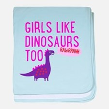 Girls Like Dinosaurs Too RAWRRHH baby blanket