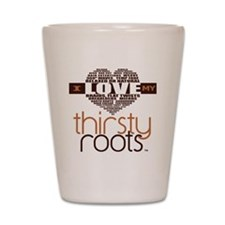 Brown Heart Hair Terms Shot Glass