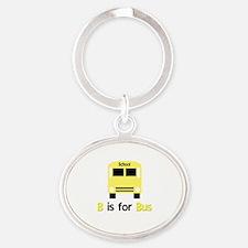 yellow kids school bus Oval Keychain