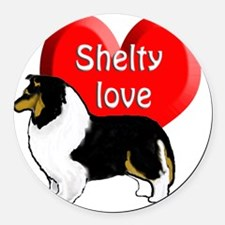 tricolor shelty Round Car Magnet