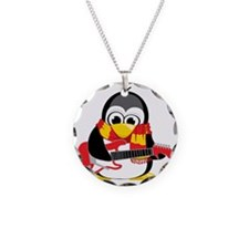 Electric-Guitar-Penguin-Scar Necklace Circle Charm