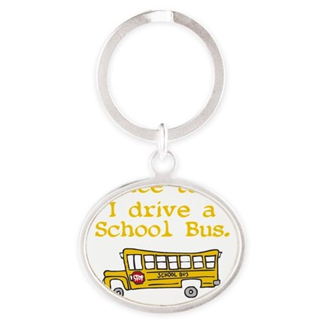 school bus driver Oval Keychain