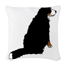 Sitting Bernese Mountain Dog ( Woven Throw Pillow