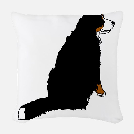 Sitting Bernese Mountain Dog ( Woven Throw Pillow