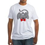 Cute Elephant Cartoon Fitted T-Shirt
