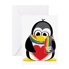 LGBTQ-Pride-Penguin-Scarf Greeting Card