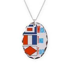 Whiskey Tango Foxtrot Flags Necklace Oval Charm