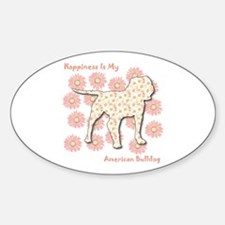 Bulldog Happiness Oval Decal