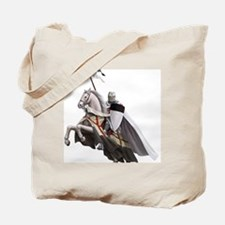 templar on rearing horse coloured landsc Tote Bag