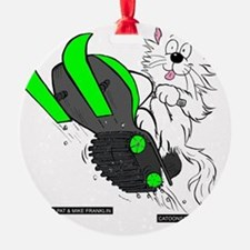 Snowmobile Green for Dark Apparel Ornament