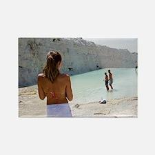 Tourists on travertine rocks, Pam Rectangle Magnet