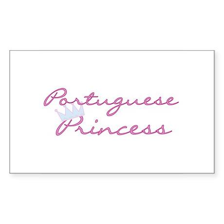 Crown Portuguese Princess Rectangle Sticker