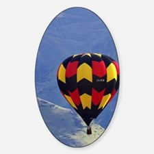 Hot Air Balloon and Mountains near  Sticker (Oval)