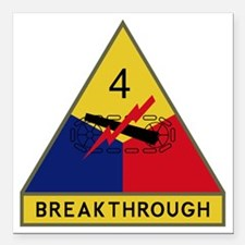 "4th Armored Division - B Square Car Magnet 3"" x 3"""