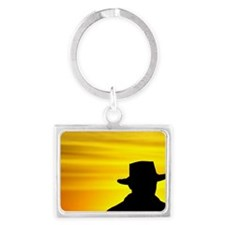 Man in Akubra at Sunrise, Mount Landscape Keychain