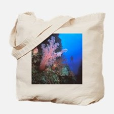 Coral Sea. Giant soft coral trees and scu Tote Bag