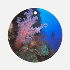Coral Sea. Giant soft coral trees a Round Ornament