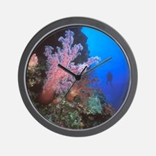 Coral Sea. Giant soft coral trees and s Wall Clock