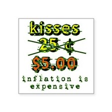 "kisses_25_cents_yellow Square Sticker 3"" x 3"""