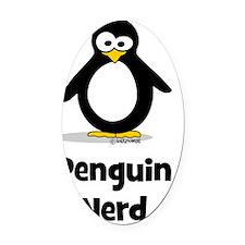 Penguin Nerd Oval Car Magnet
