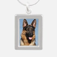 German Shepherd Dog 9Y55 Silver Portrait Necklace